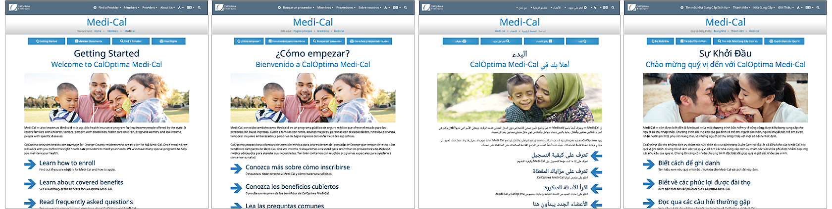 CalOptima Members Section in Multiple Languages